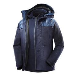 Abigo Chaqueta Montaña y Trekking viaje Forclaz TRAVEL100 3en1 Hombre azul