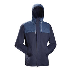 Men's 3-in-1 Travel Trekking Jacket - TRAVEL 100 - Blue