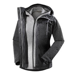 Women's Trekking 3-in-1 Jacket TRAVEL 100 - Dark Grey