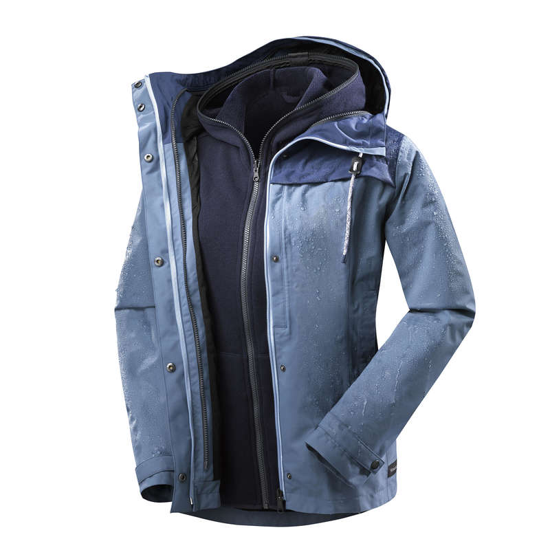 WOMEN 3 IN 1 JACKETS TRAVEL TREK Trekking - TRAVEL 100 3in1 W BLU FORCLAZ - Trekking