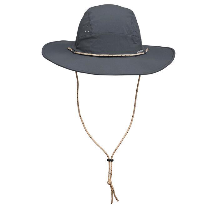 男款抗UV登山健行帽Trek 500-深灰色
