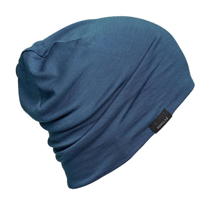 Merino Strickmütze Beanie Trek 500 blau