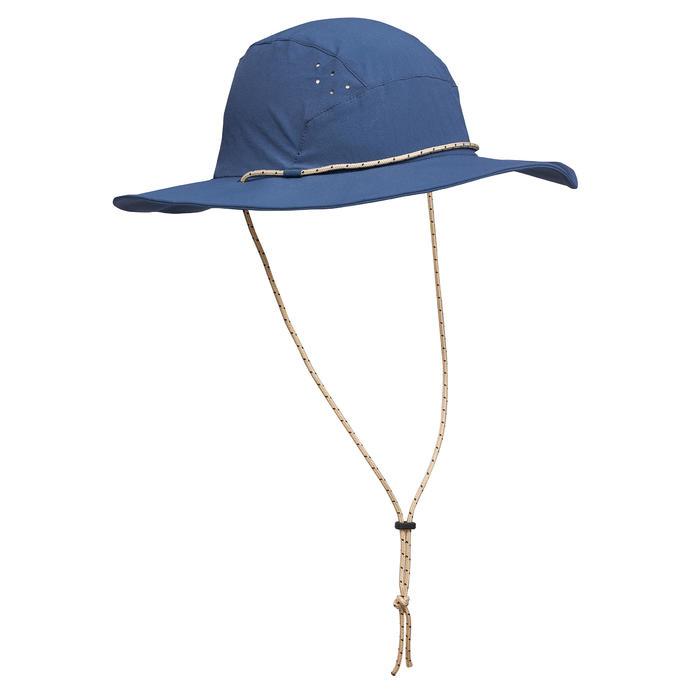 男款抗UV登山健行帽Trek 500 - 藍色
