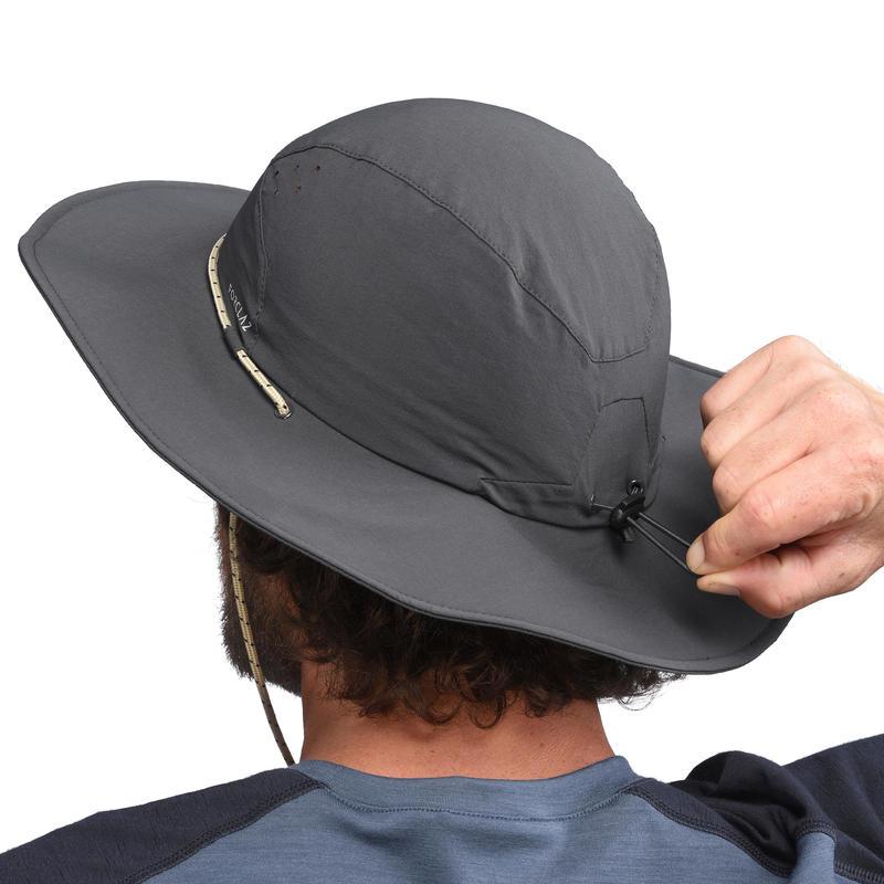 Sombrero Trekking Montaña Forclaz Trek 500 Hombre Anti-UV Gris Oscuro