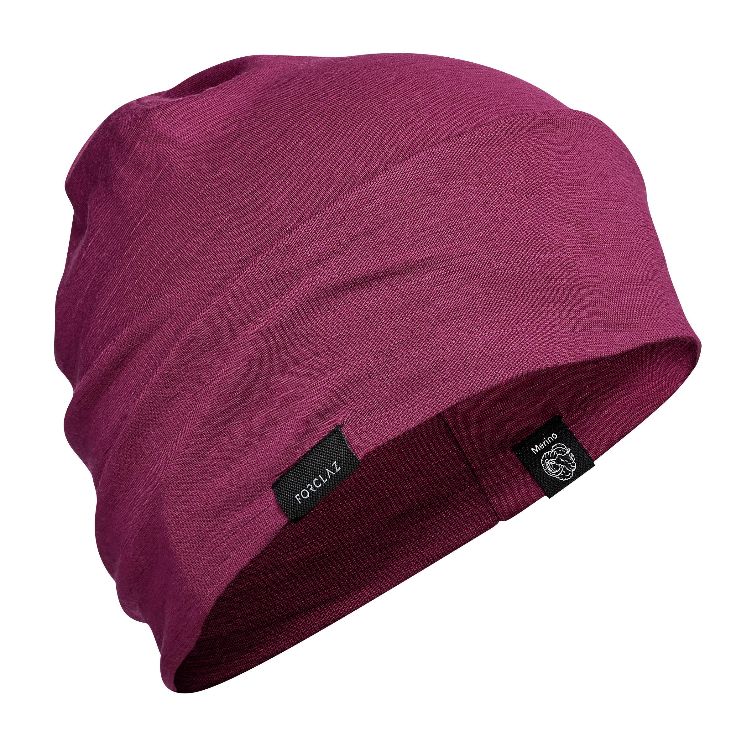 Merino Strickmütze Beanie Trek 500 violett | Accessoires > Mützen > Beanies | Violett | Forclaz
