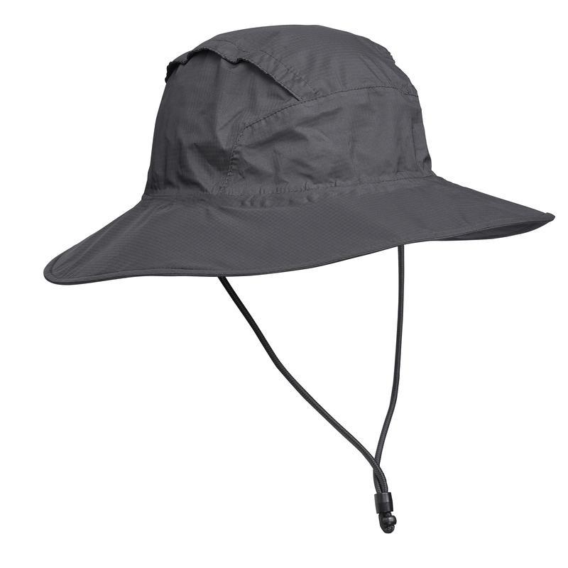 Sombrero de Trekking en montaña TREK 900 impermeable gris oscuro