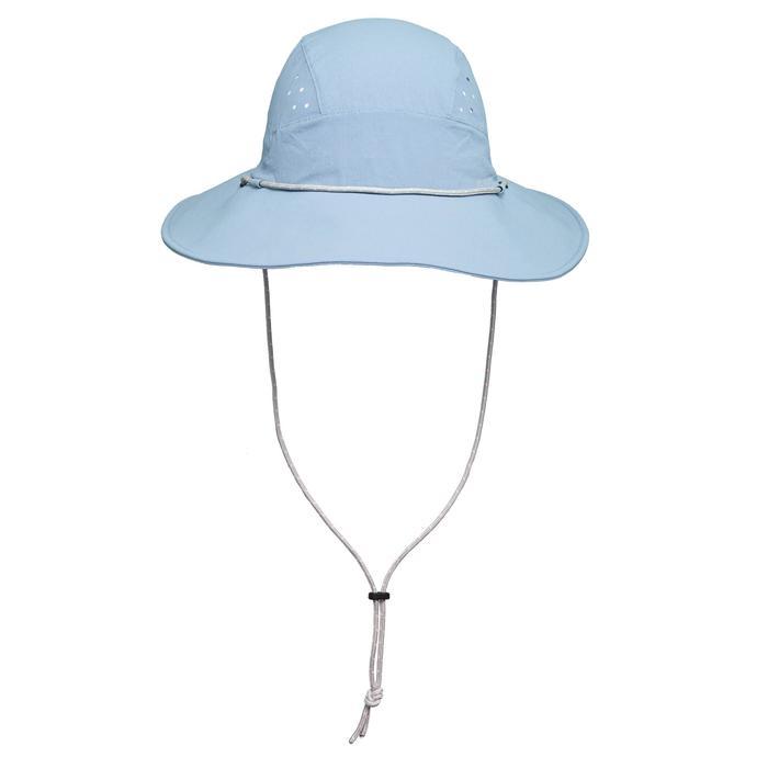 女款抗UV登山健行帽 TREK 500-藍色