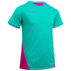 Camisola de Voleibol Menina V100 Verde e Rosa