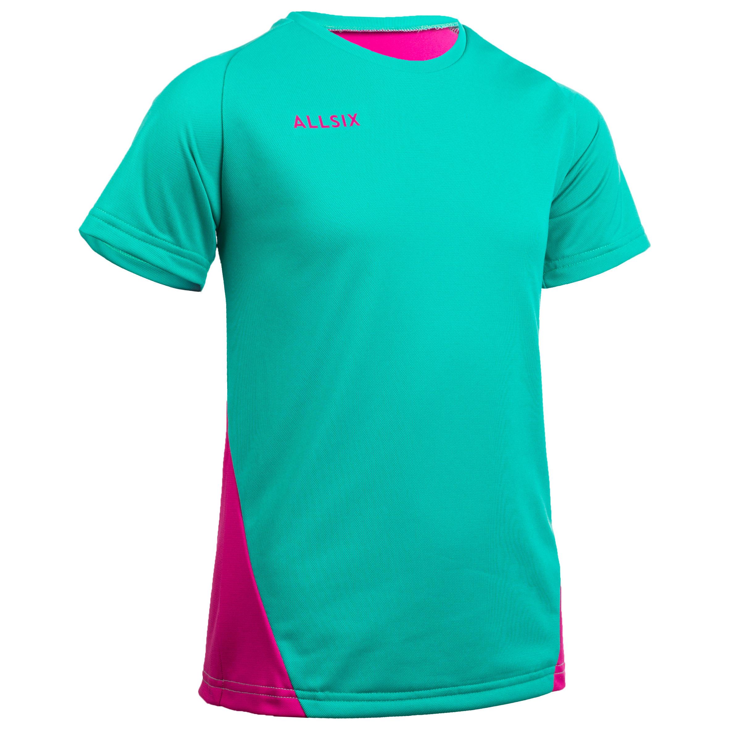 Maillot de volley ball fille v100 vert et rose allsix