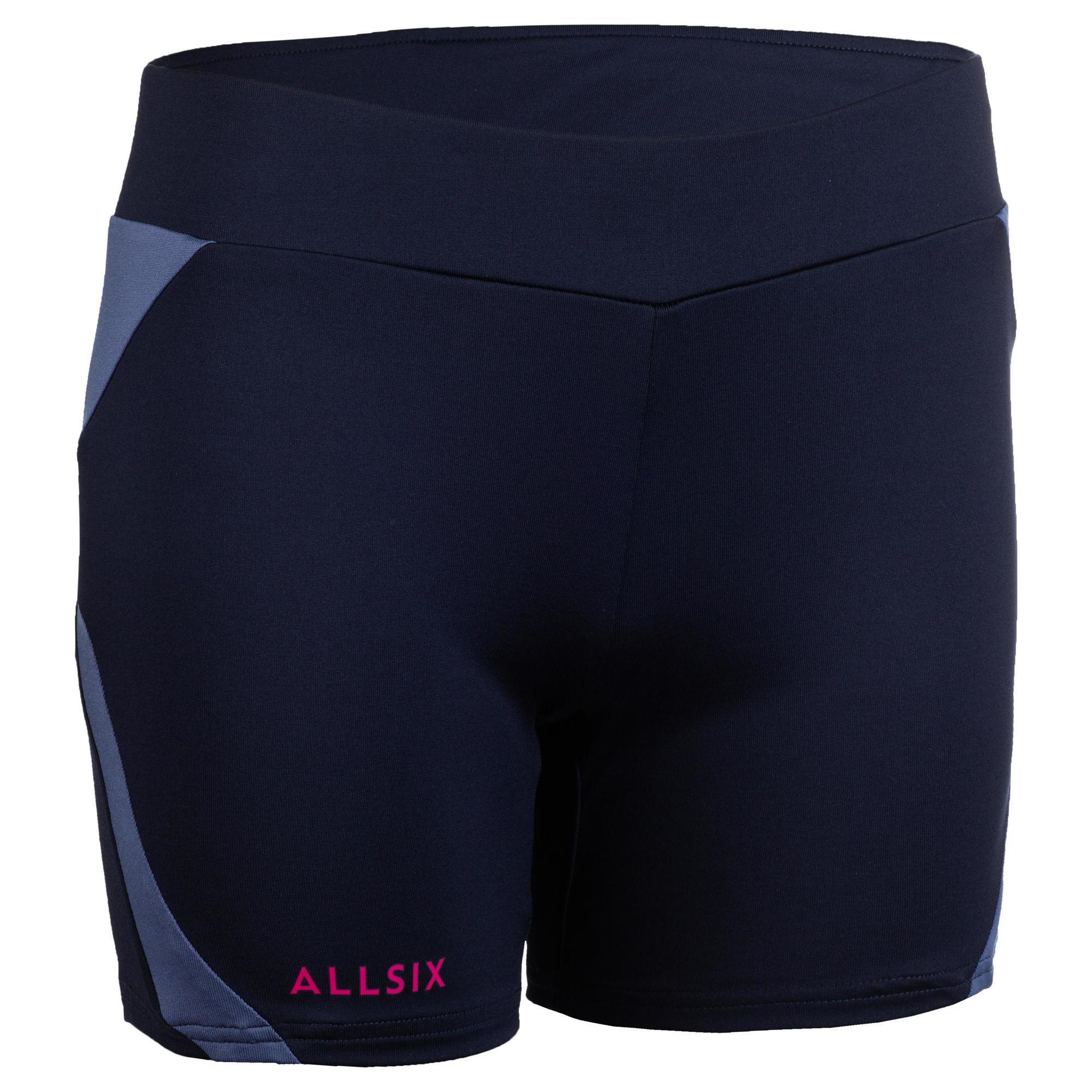 Short de volley ball femme v500 bleu marine allsix
