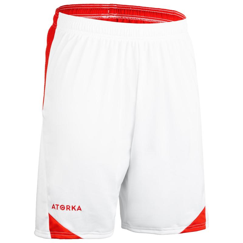 Short de handball homme H500 blanc/rouge