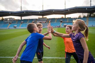 kids on a soccer field