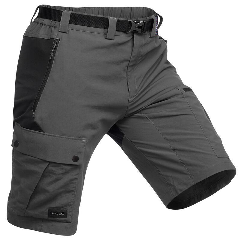 Men's Mountain Trekking Durable Shorts - TREK 500 Dark Grey