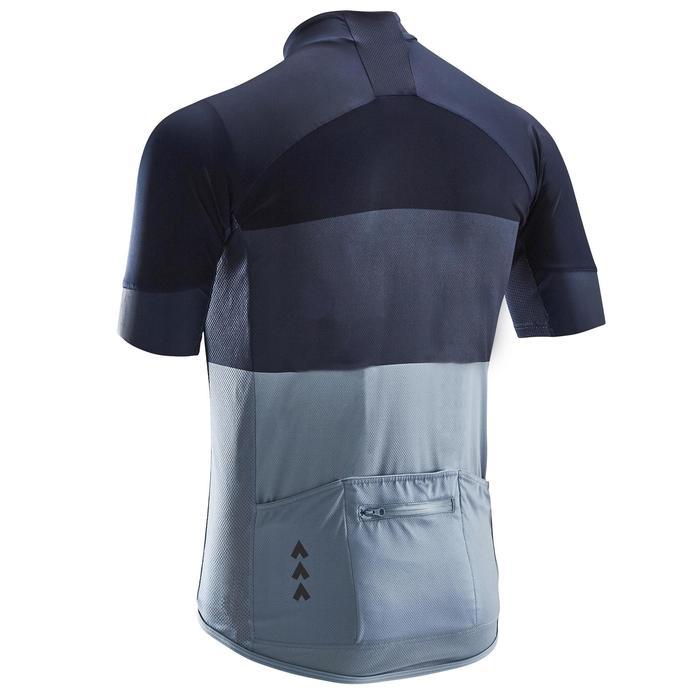Maillot ciclismo carretera manga corta hombre tiempo cálido RC500 azul marino