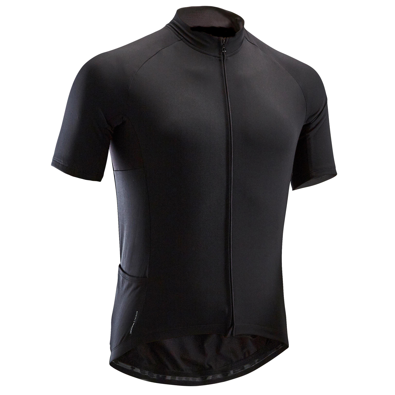 Triban Fietsshirt met korte mouwen warm weer heren wielertoerisme RC100 zwart