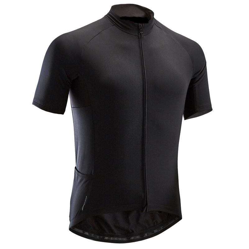 Men's Short-Sleeved Warm Weather Road Cycling Jersey RC100 - Black