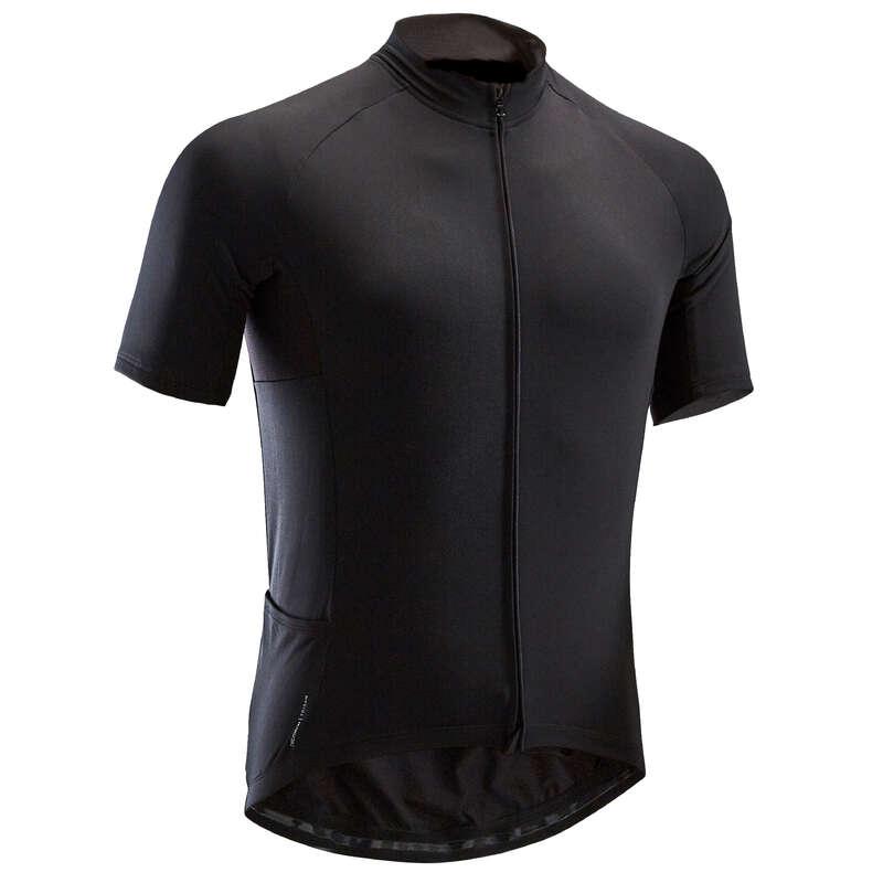 MEN WARM WEATHER ROAD CYCLING APPAREL Cycling - RC 100 Short Sleeve Cycling Jersey - Black TRIBAN - Cycling