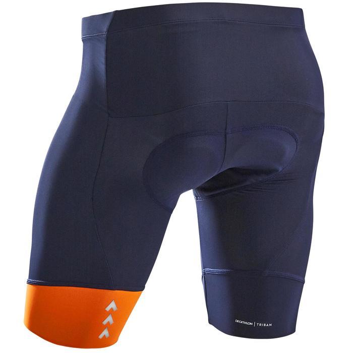 Wielrenbroek RC100 zonder bretels heren marineblauw/oranje