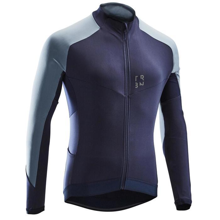 Fietsshirt met lange mouwen voor heren wielertoerisme RC500 blauw