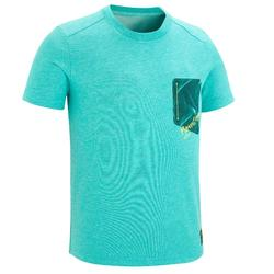 兒童款健行T恤MH100(7 到15歲)-淺碧藍色