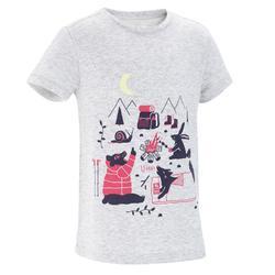 Camiseta Manga Corta de Montaña y Trekking Forclaz MH100 Niños Gris Jaspeado