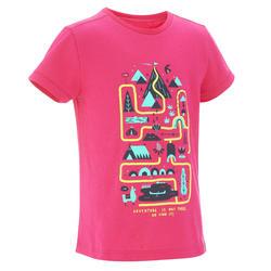 Camiseta Manga Corta de Montaña y Trekking Forclaz MH100 Niños Rosa