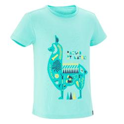 Camiseta Manga Corta de Montaña y Trekking Forclaz MH100 Niños Azul Turquesa