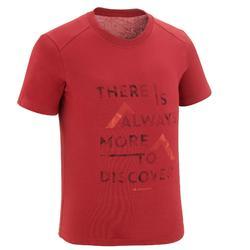 Camiseta Manga Corta de Montaña y Trekking 7-15 años Quechua MH100 Niños burdeos