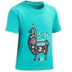 Camiseta Manga Corta de Montaña y Trekking Quechua MH100 Niños Azul turquesa