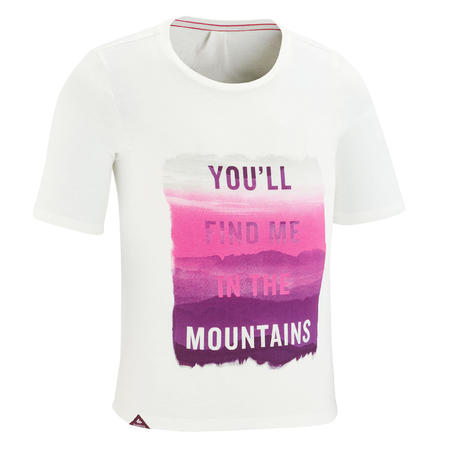T-shirt mendaki anak-anak MH100 Putih 7 hingga 15 tahun