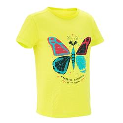 Camiseta Manga Corta de Montaña y Trekking Forclaz MH100 Niños Amarillo