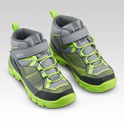 Chaussures imperméables de randonnée -MH120 MID grises- enfant 28 AU 34 scratch