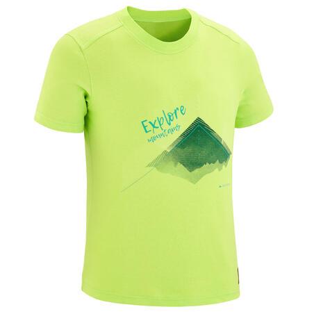 חולצת טי לטיולים דגם MH100 לילדים - ירוק אניס