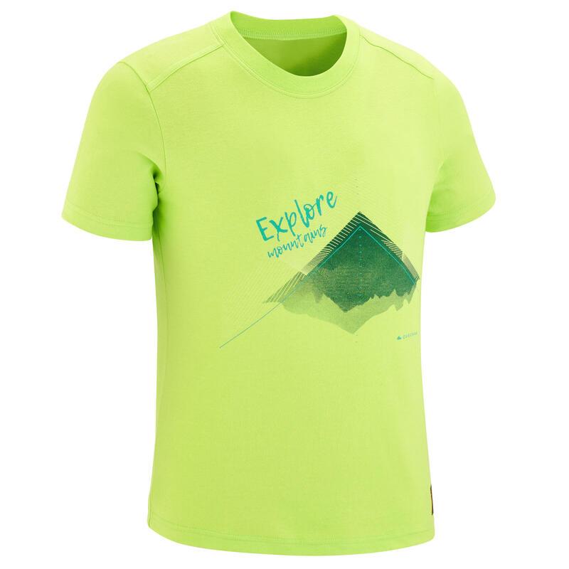 MH100 T-shirt Hiking Anak - Hijau UMUR 7 SAMPAI 15 TAHUN