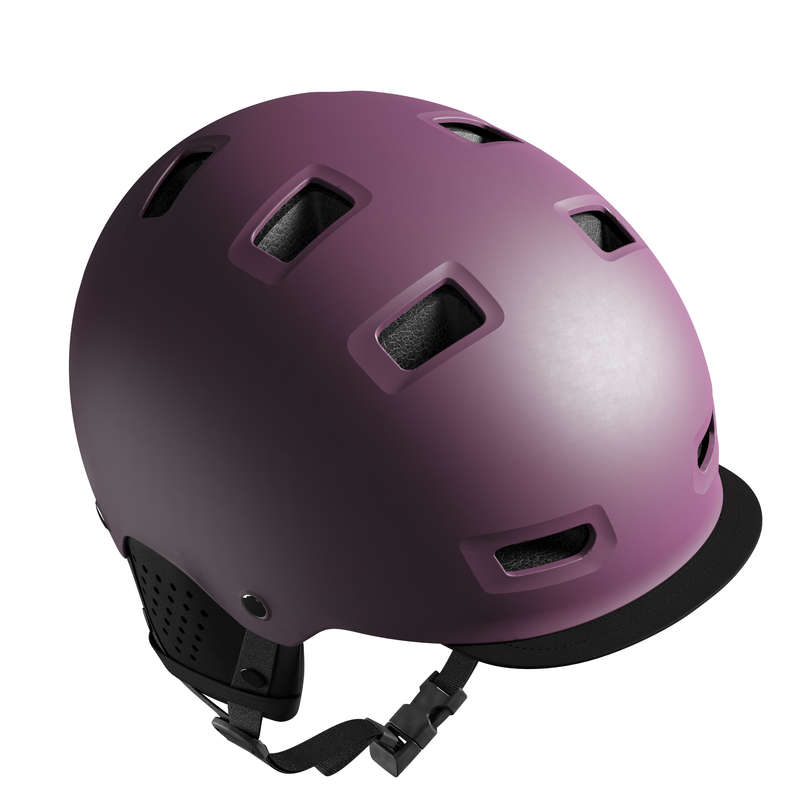 URBAN / INTERMODAL HELMET Cycling - 500 Cycling Bowl Helmet - Plum B'TWIN - Cycling