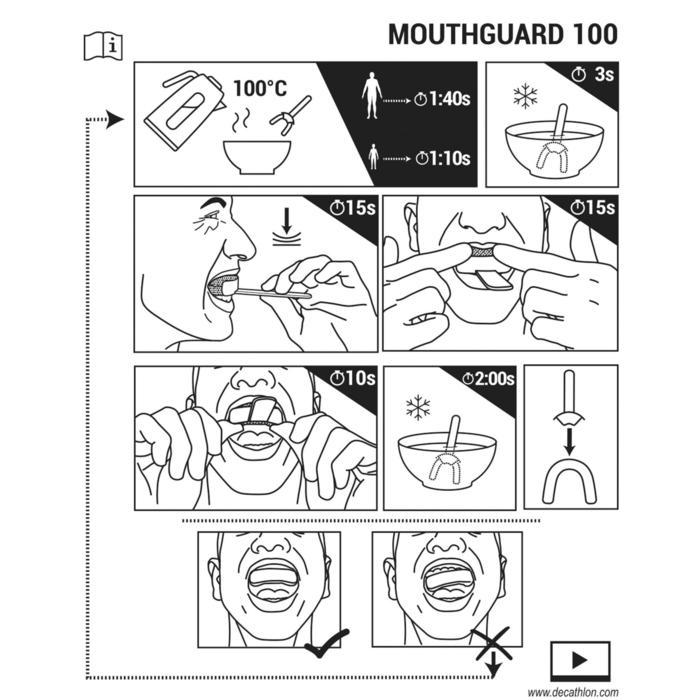 Mundschutz Rugby 100 Erwachsene durchsichtig