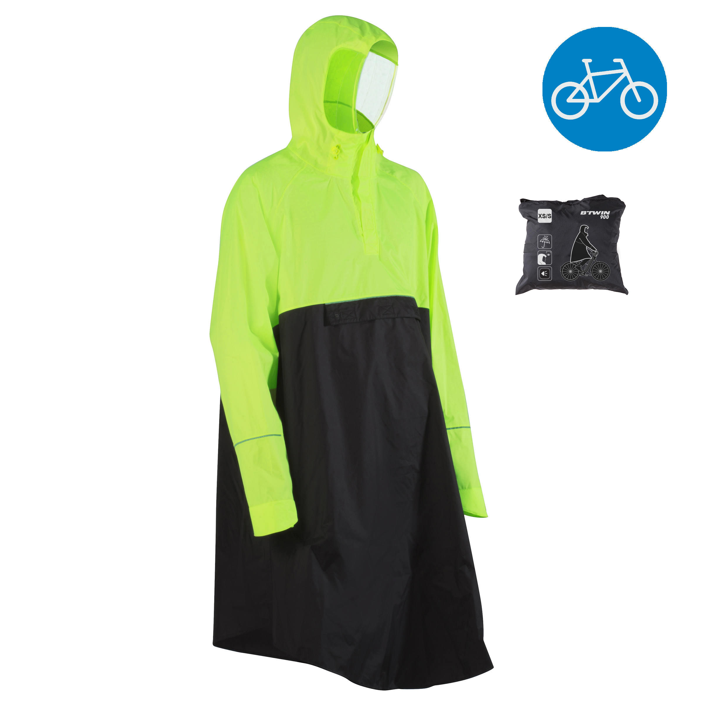 900 Cycling Rain Poncho - Neon Yellow / Black