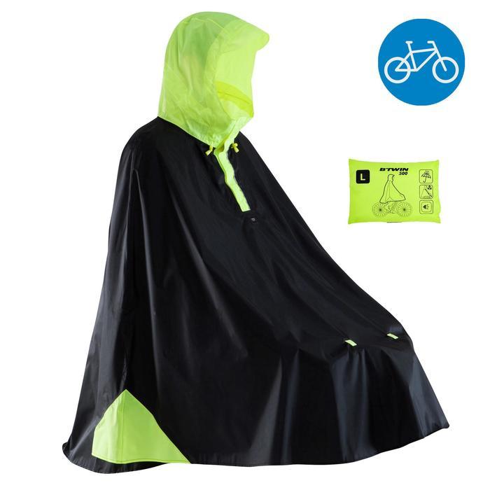 Regenponcho fiets 500 zwart/geel