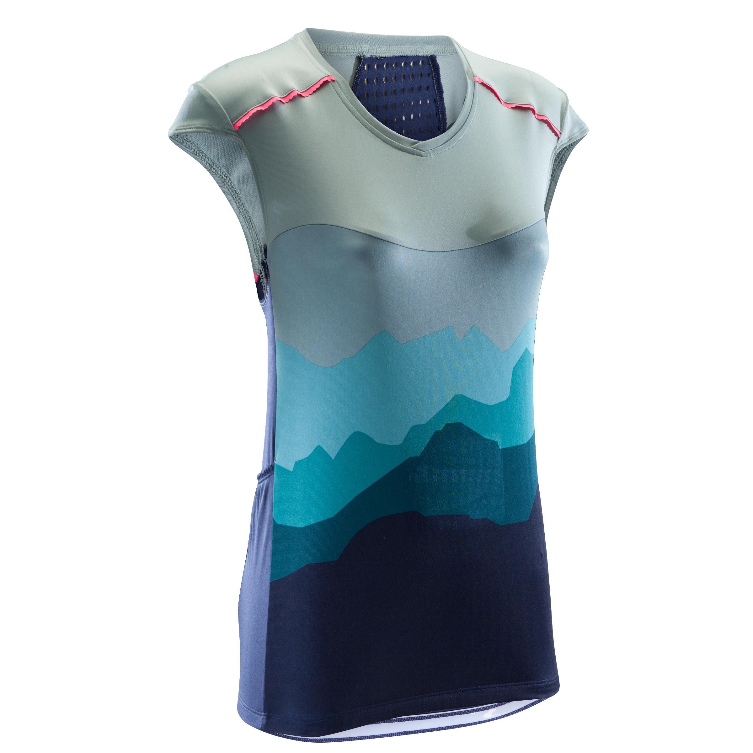 Rockrider Mouwloos MTB-shirt ST500 dames kaki/blauw
