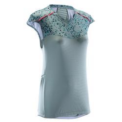 Mouwloos MTB-shirt ST 500 dames kaki groen/grijs