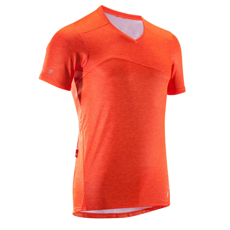 MEN WARM WEATHER ST MTB APPAREL Cycling - ST100 Short Sleeve Mountain Bike Jersey - Orange ROCKRIDER - Cycling
