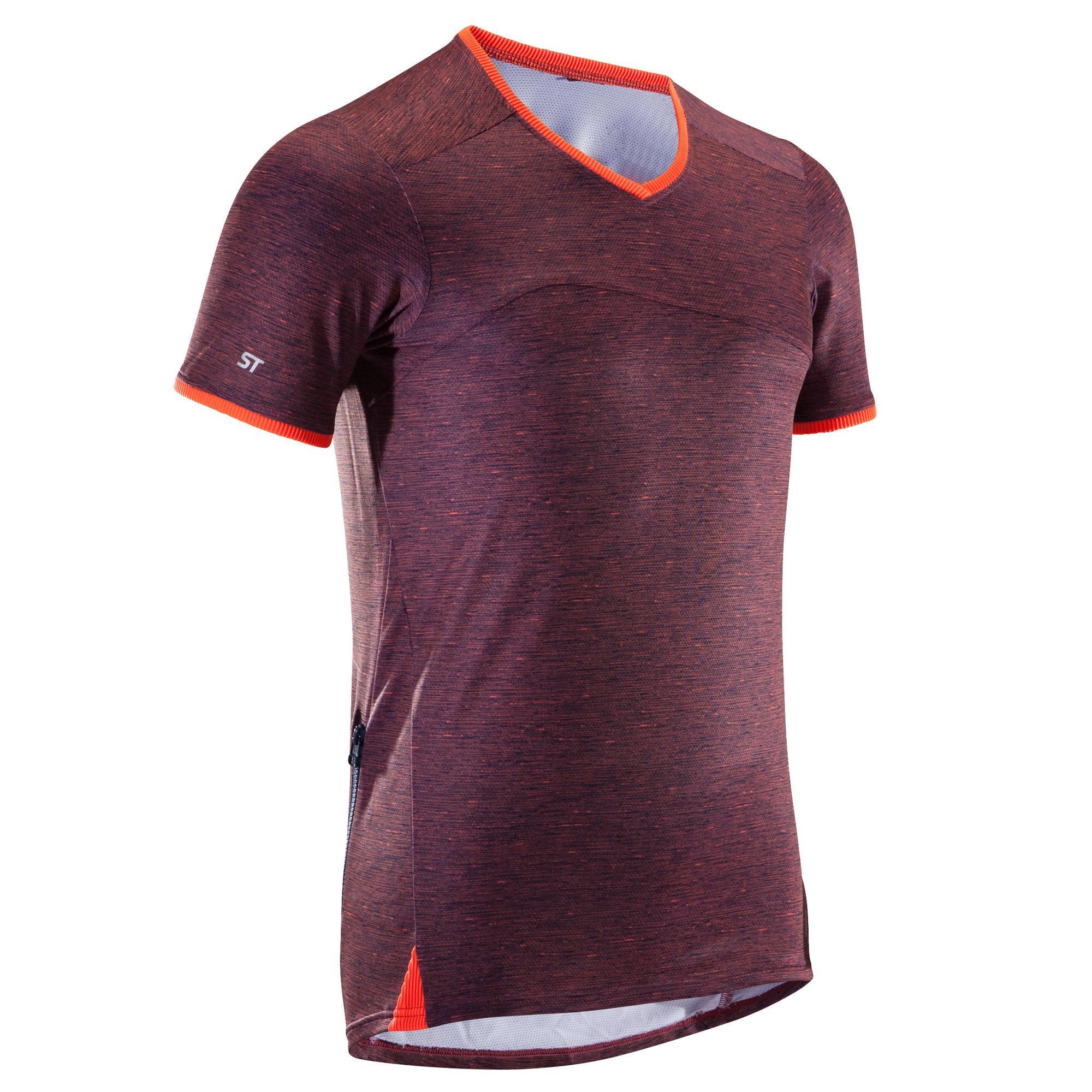 Rockrider MTB-shirt voor heren met korte mouwen ST 100 heren blauw/oranje