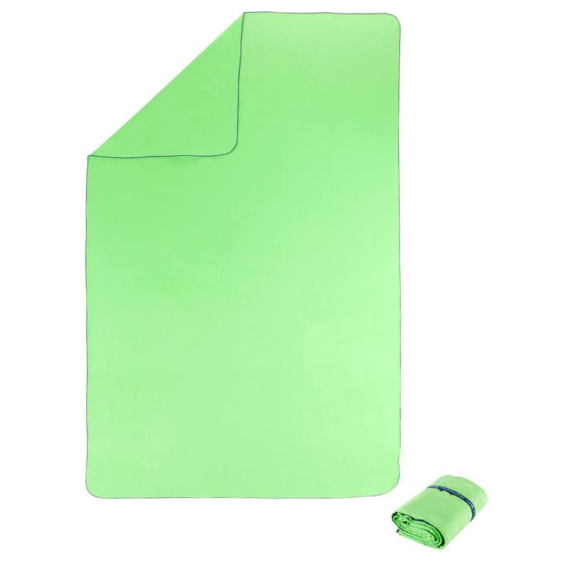 Toalla de microfibra verde flúor ultra compacta talla XL110 x 175 cm