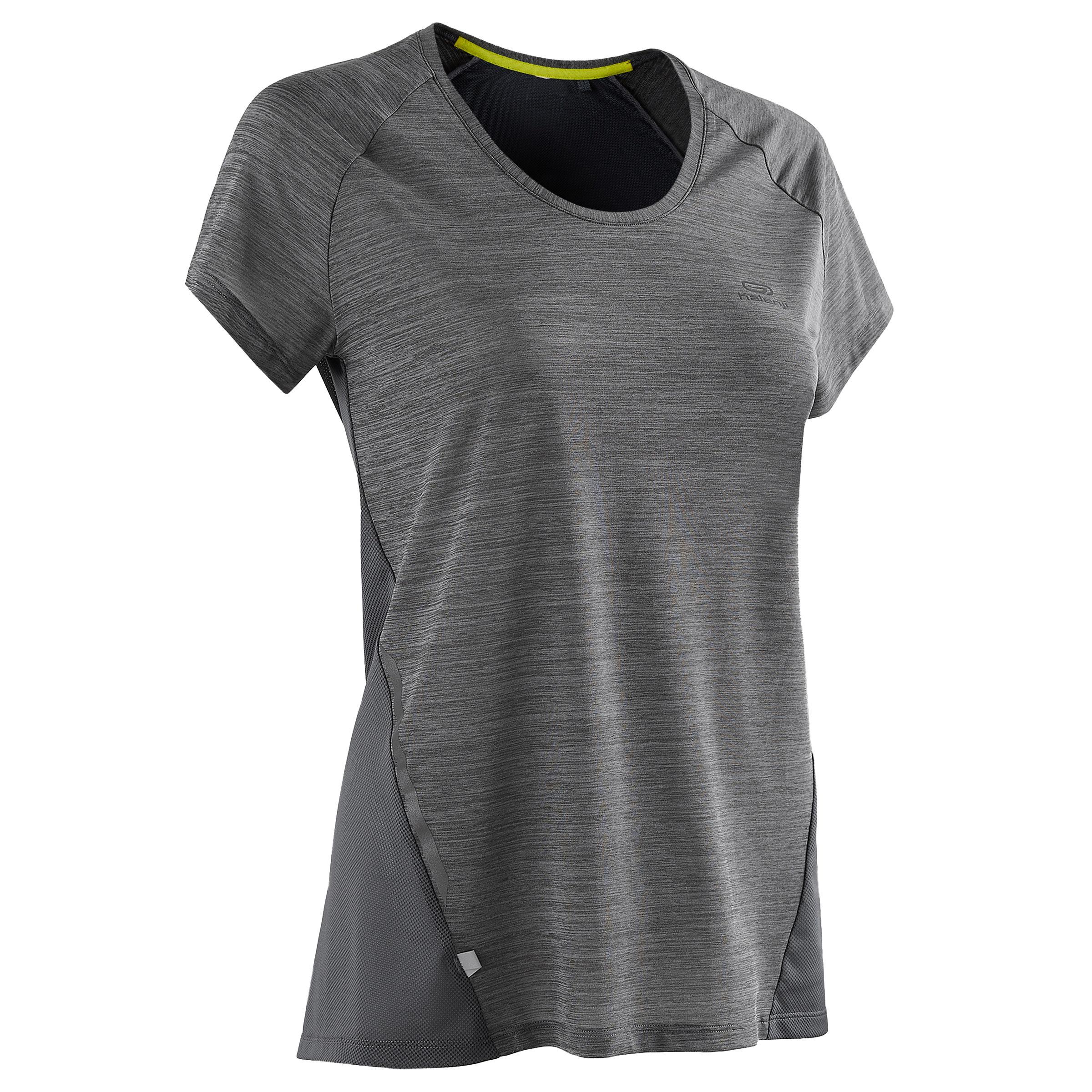 Laufshirt kurzarm Run Light Damen grau | Sportbekleidung > Sportshirts > Laufshirts | Grau - Blau - Gelb | Kalenji