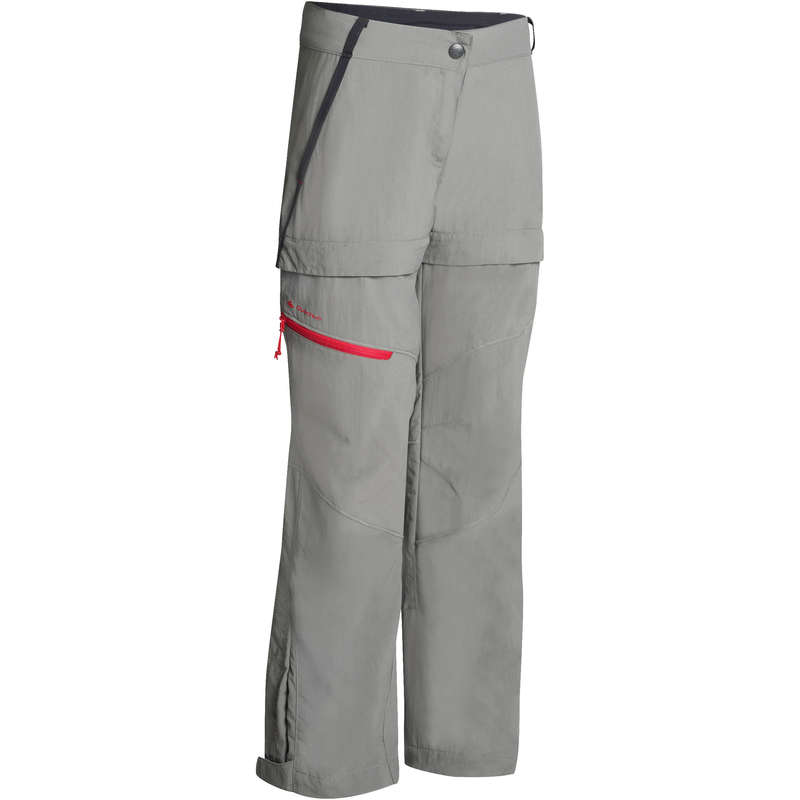 PANTS SHORTS, T SHIRT GIRL 7-15 Y Hiking - MH550 Zip-off trousers - Grey QUECHUA - Hiking Clothes