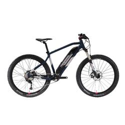 """Bicicleta Eléctrica de Montaña E-ST500 27,5"""" Mujer azul y cromo"""
