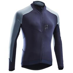 MAILLOT VELO ROUTE MANCHES LONGUES HOMME CYCLOTOURISTE RC500 BLEU