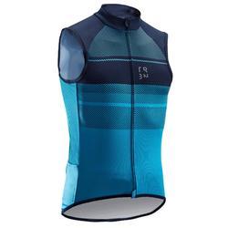 Mouwloos fietsshirt voor heren warm weer RC500 blauw