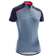 Modra ženska kolesarska majica s kratkimi rokavi 500
