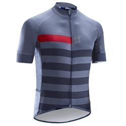 Fietsshirt met korte mouwen heren warm weer RC500 blauw/bordeaux
